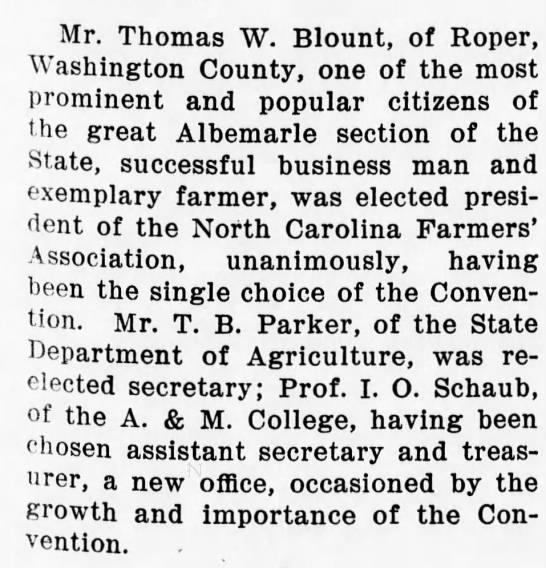 Blount-Roper,NC - Mr. Thomas W. Blount, of Roper, Washington...