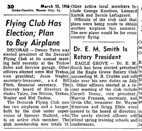 1956 Mason City Globe Gazette 3.15.1956 - 30 March 15, 1956 Globe-Gazette, Mnor. City,...