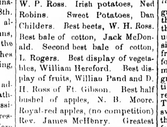 Indian International Fair at Muscogee, IT, September 29, 1882 - 8th, already tho lul- Robins. Sweet Potatoes,...