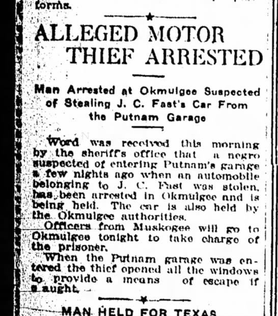 J.C. Fast's car attempted stolen 1920