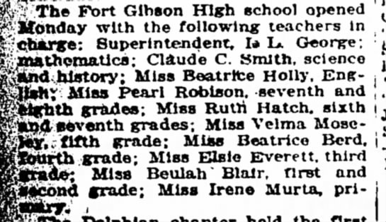 Fort Gibson OK--1922-23 teachers at Fort Gibson High School - 'Cliarse: Superintendent, b L. George;...