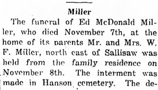 - Miller The funeral of Ed McDonald Mil ler, who...