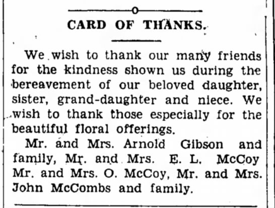 Vian Press, 03 Aug 1933, p3 - CARD OF THANKS. We.wish to thank our marty...