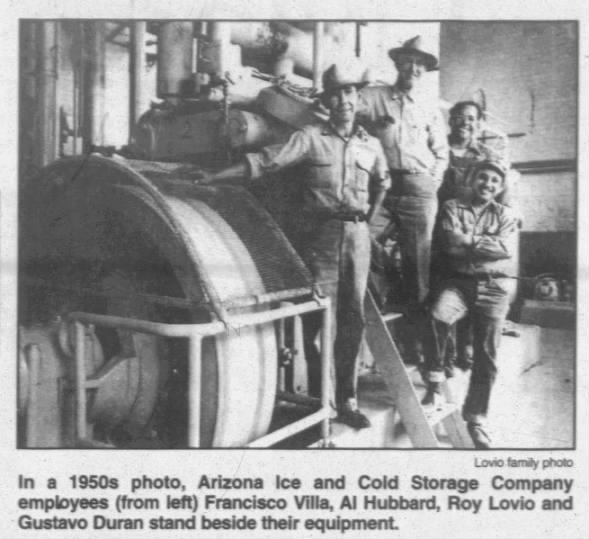 1950s photo inside the Arizona Ice and Cold Storage building