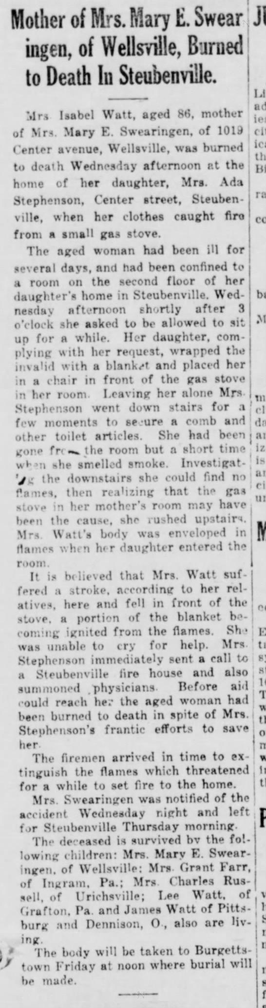 Mrs Isabel Watt 86 burns to death - Mother of Mrs. Mary E. Swear ' ingen, of...