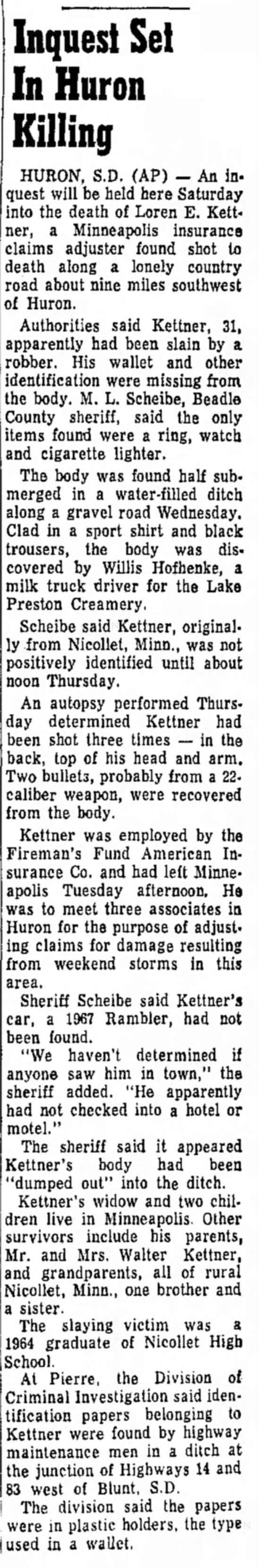 Daily Republic Mitchell, SD  23 June 1967 - Inquest Set In Huron Killing HURON, S.D. (AP) —...