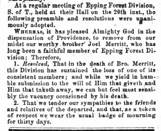 Joel Merritt Death (31 Jan 1855 The Spirit of the Age Raleigh, NC) - At a regular meeting of Epping Forest Division,...