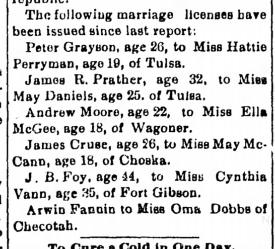 James Mary Marriage License Muskogee Daily Phoenix •  18 February 1903 •  Page 3 - The following marriage licenses have been...