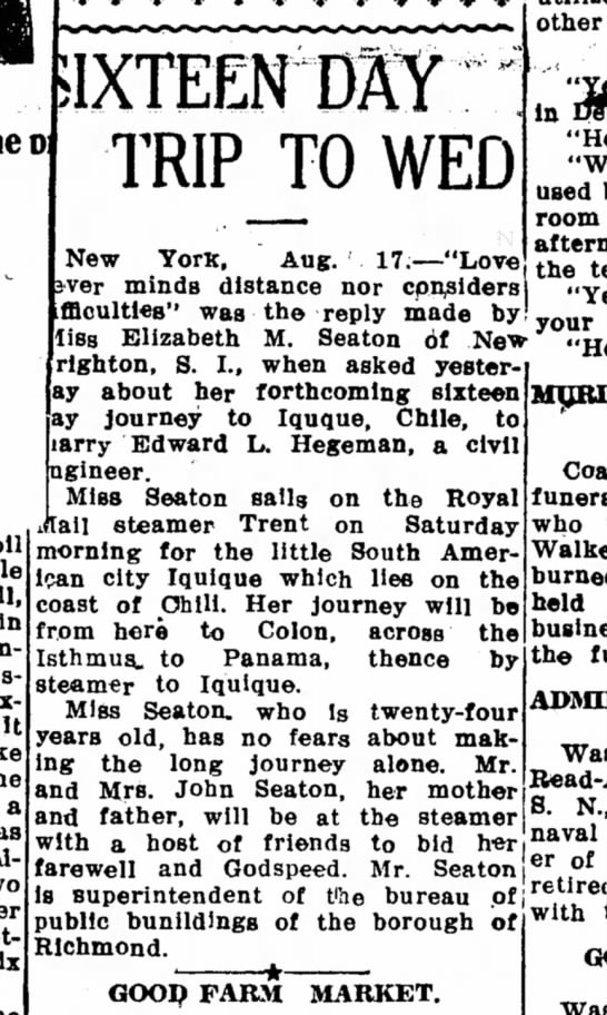 Chilean-Marriage-EMSeaton-1911 - other TRIP TO WED U six New YorK. Aug....