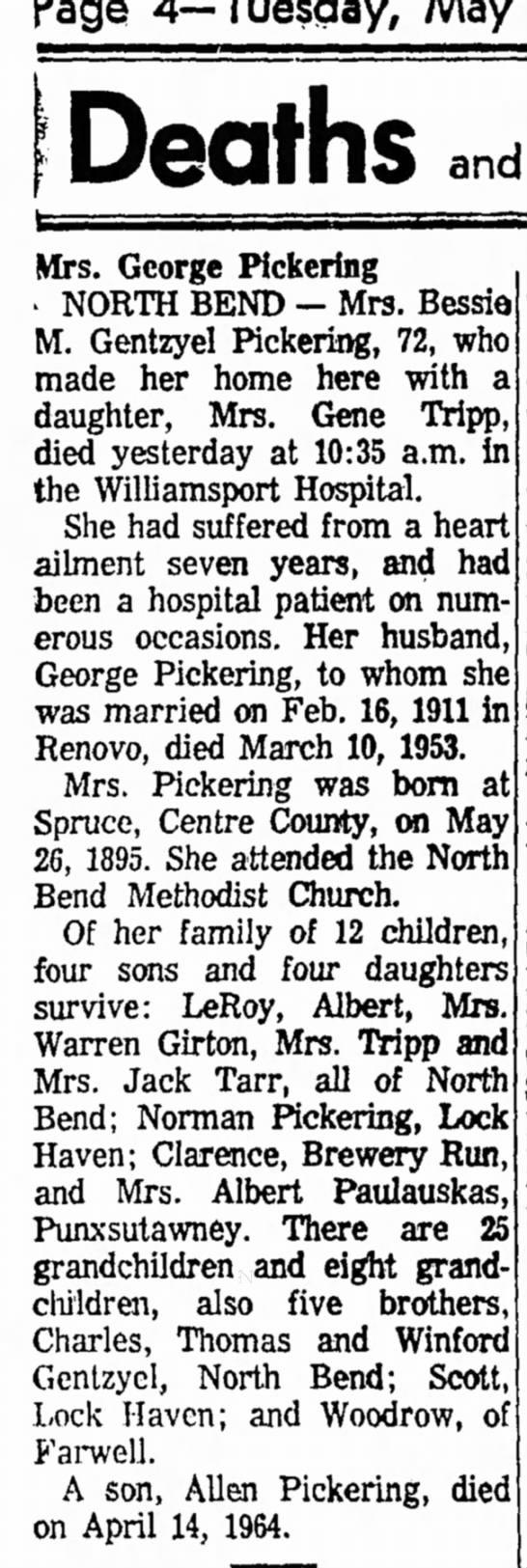 Page 4 - Tuesday, May 14, 1968 The Lock Haven Express - Page 4—Tuesday, May Deaths and Mrs. George...