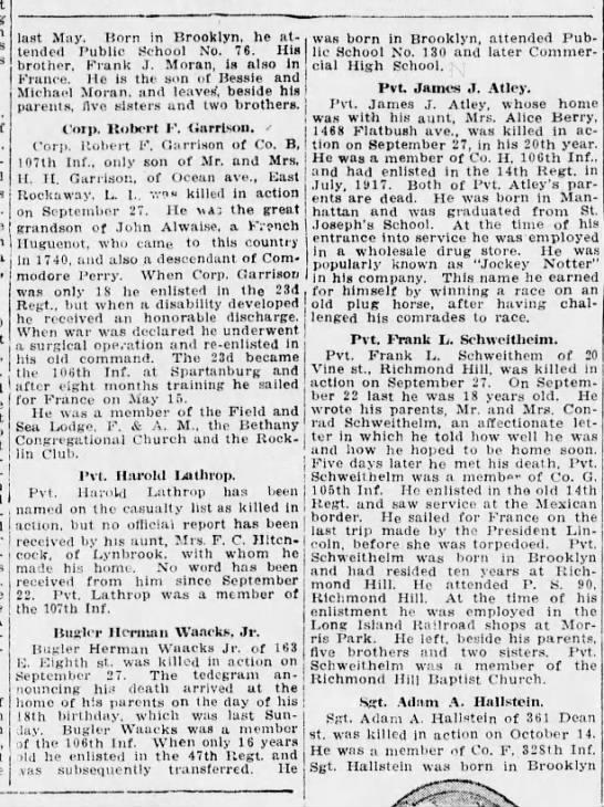 Waacks, Herman jr  KIA Sep 27, 1918 - last May. Born in Brooklyn, he attended...