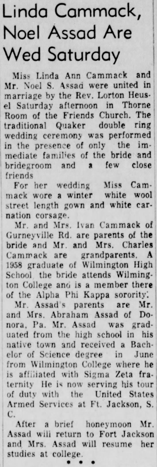 Ivan & Donna Cammack's daughter Linda marries Noel Assad, 1959. - Linda Commack, Noel Assad Are Wed Saturday...