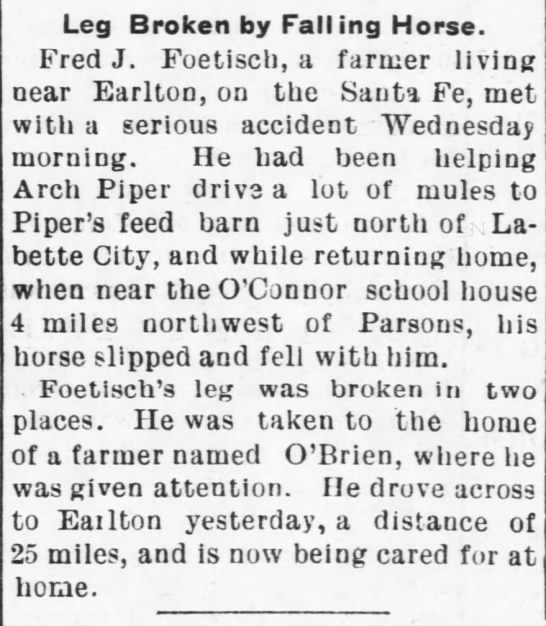 Fred FOETISCH 1902 accident - Leg Broken by Fall ing Horse. Fred J. Foetisch,...