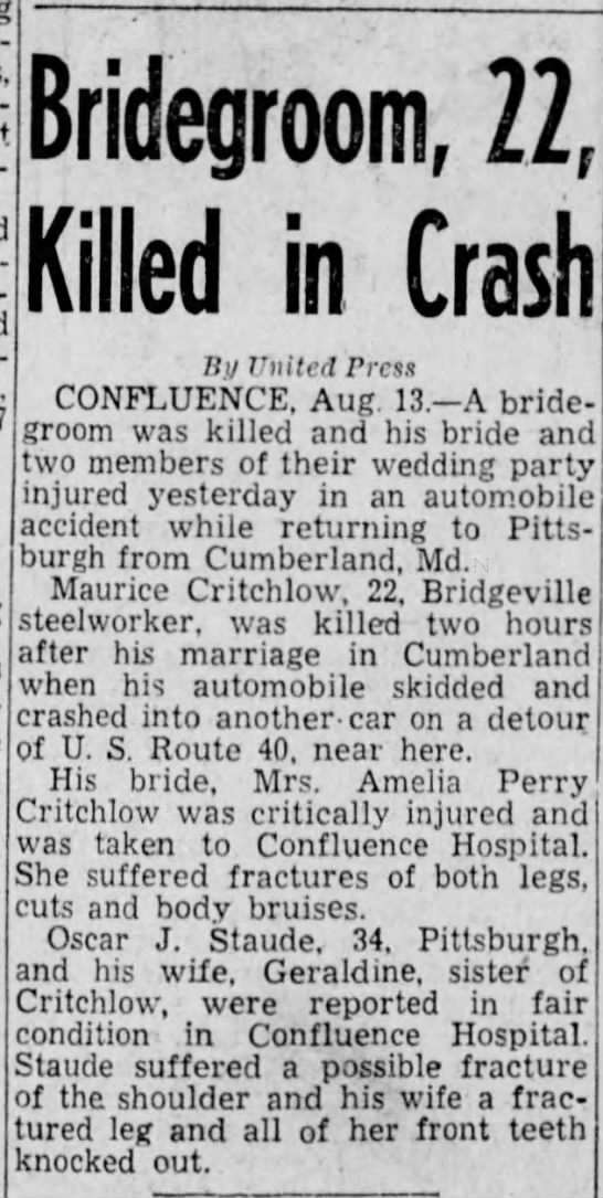Maurice Critchlow Accident 1941 Parents Earl Ross Critchlow & Margaret Barbara Miller Critchlow - 900,-000 Bridegroom, 22, Killed in Crash Bv...