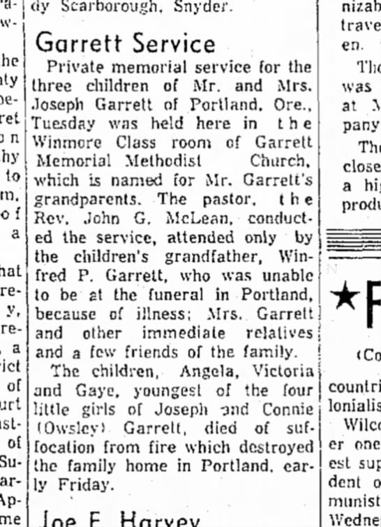 Joe Garrett's Childrens funeral - Scarborough, Snyder. the to f a y, a of of...