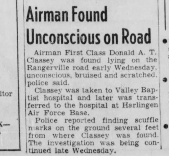 valley morning star - texas apr 1953 - Airman Found Unconscious on Road Airman First...