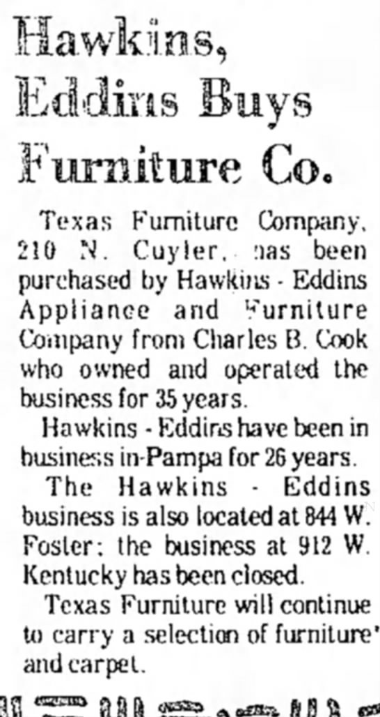 Purchase of Texas Furniture - Hawkins, Furniture Co. Texas Furniture Company,...