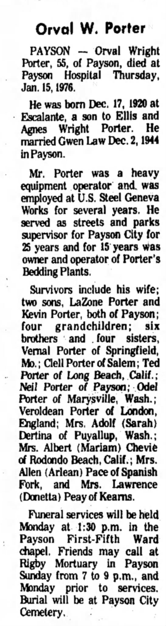 Orval Wright Porter Obituary - Orval W. Porter PAYSON - Orval Wright Porter,...