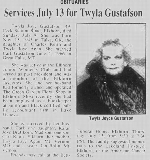 Obituary for Twyla Joye Gustafson (Aged 49)