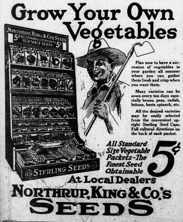 grow vegetables seeds advertisement 1922
