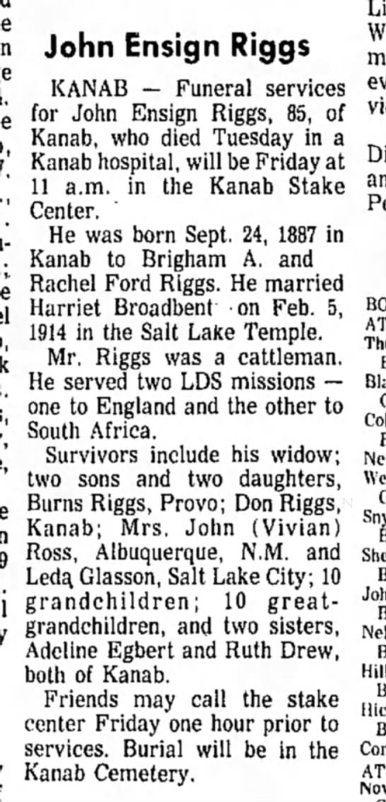 Daily Herald16 Nov 1972 - John Ensign Riggs KANAB — Funeral services for...