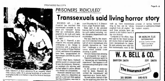 Brownwood Bulletin: Transsexuals said living horror story 7/8/77 - SROiVNVVOGO BULLETIN PRISONERS 'RIDICULED'...