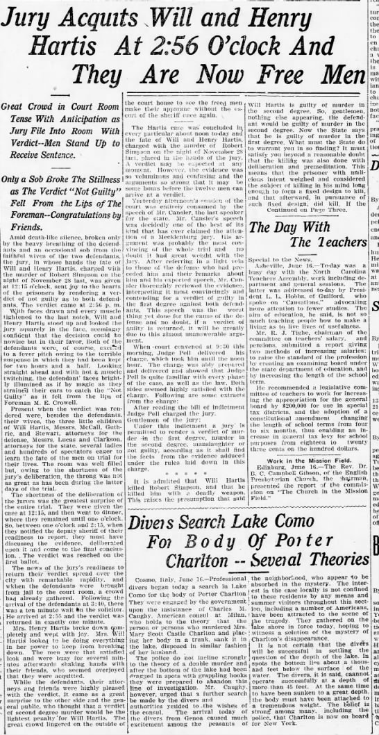 The Charlotte News June 16, 1910 - I Jury Ac artis Gieat Crowd in Court Room Tense...