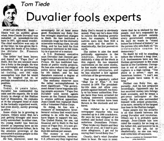 Baby Doc Duvalier trumps odds 14 years in. - Tom Tiede Duvalier fools experts...