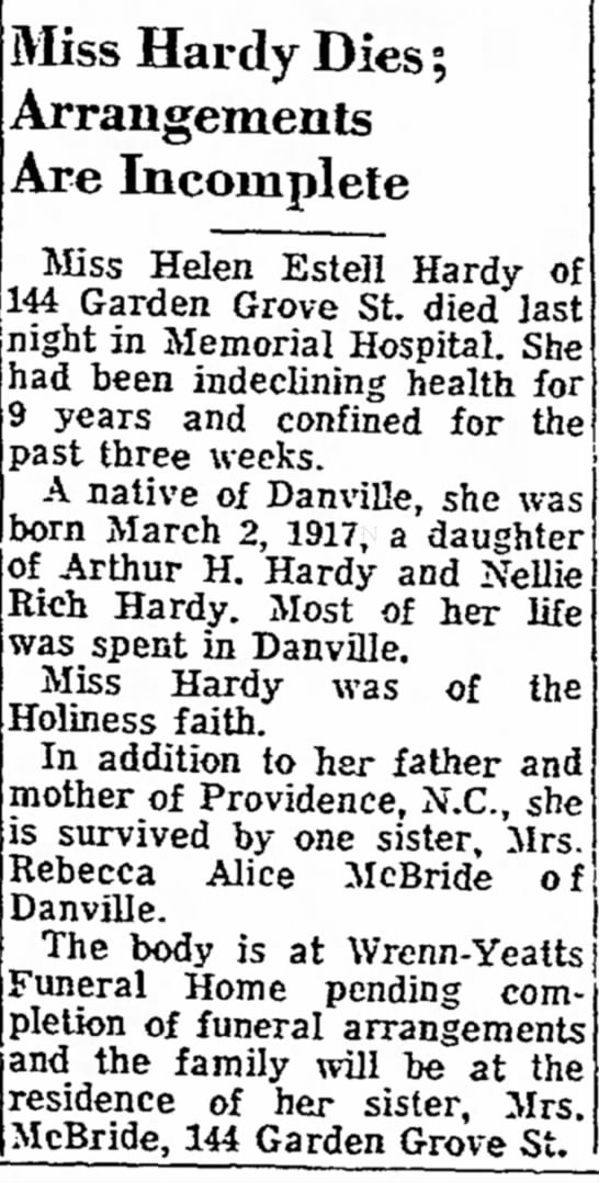 Helen Estell Hardy obit daughter of Arthur H Hardy and Nellie Rich Hardy - Miss Hardy Dies; Arrangements Are Incomplete...