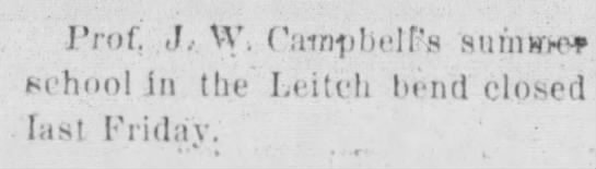 1899 Leitch Bend summer school - Prof J, V', Camtibeirs sumwx Kcht.ol in the'...