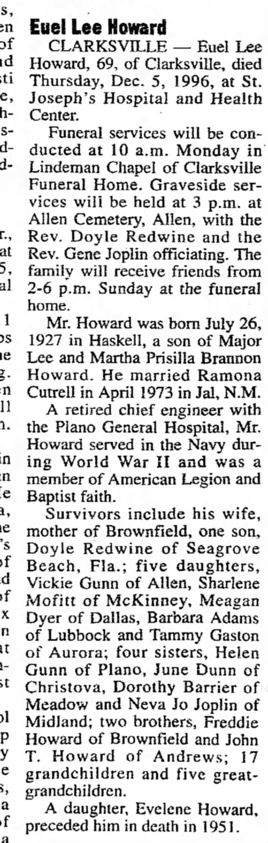 Dorothy Barrier - of at 5, in Eue! Lee Howard CLARKSVILLE — Euel...