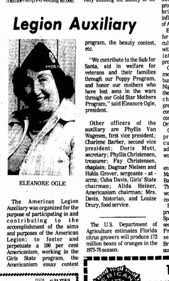 Feb 29, 1976 - Daily Herald - Sunday-1 - Legion Auxiliary ELEANORE OGLE The American...