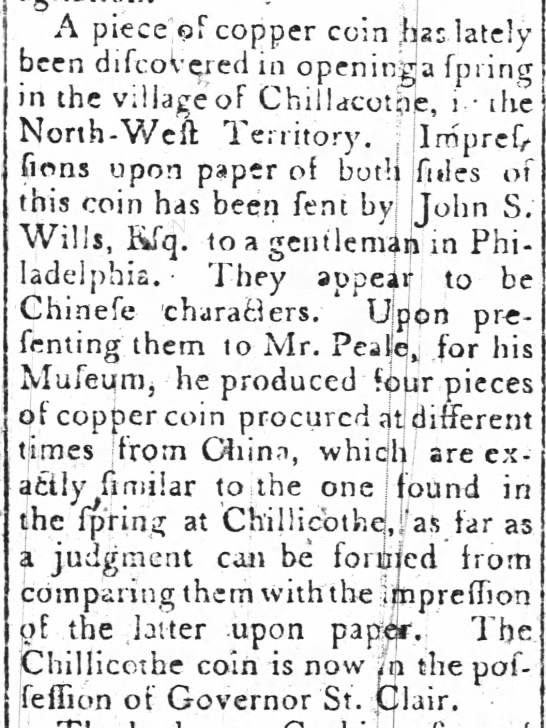 Chillicothe copper - . A piece'pf copper coin ,1125 lately been...