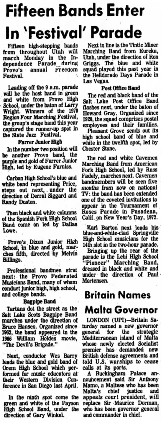Daily Herald 07/04/71 - Fifteen Bands Enter In 'Festival' Parade...
