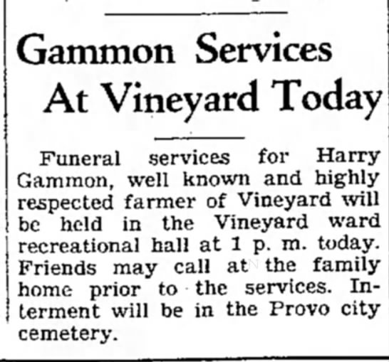 Harry Gammon burial - Gammon Services At Vineyard Today Funeral...
