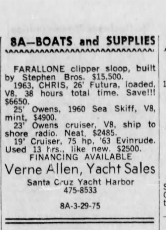 29 Mar 1964 Santa Cruz Sentinel - Classified Ad for Farallone Clipper for sale $15,500 - 8A BOATS and SUPPLIES IMAAMAMUWAWtAUAAAAMAAAAA,...