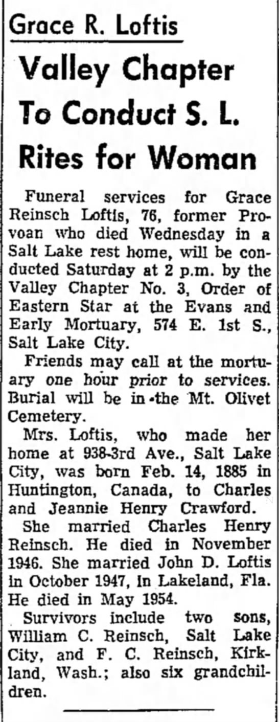 Grace Reinsch's obituary - Grace R. Loftis Valley Chapter To Conduct S. L....