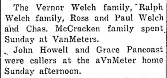 "24 April 1924 - The Vernor Welch family, ""Ralph Welch family,..."
