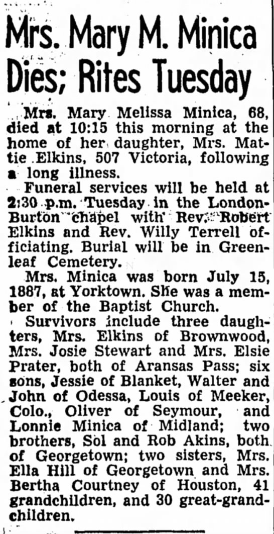 Mary Melissa Akins Minica Obit - Mrs. Mary M. Minica Dies; Rites Tuesday...