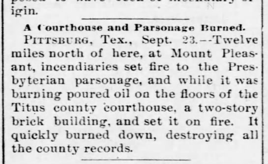 - or-iprin. ' A Courthouse and Parsonage Kurned....