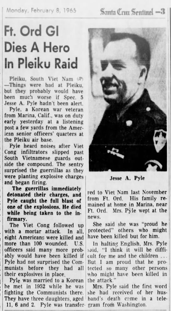 - Monday, February 8, 1965 Ft. Ord Gl Dies A Hero...