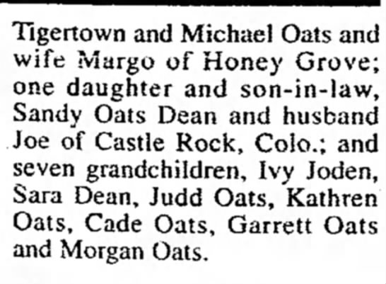 Mildred Osmon Oats - Tigertown and Michael Oats and wife Margo of...
