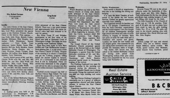 1974 New Vienna (Ohio) News -Nov.27