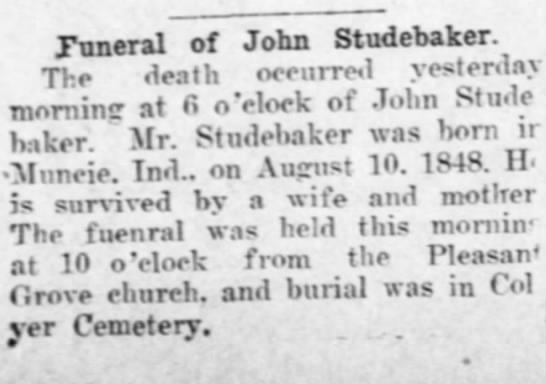 6/24/1911 Lawrence Daily Journal World - Funeral of John Studebaker. The death occurred...