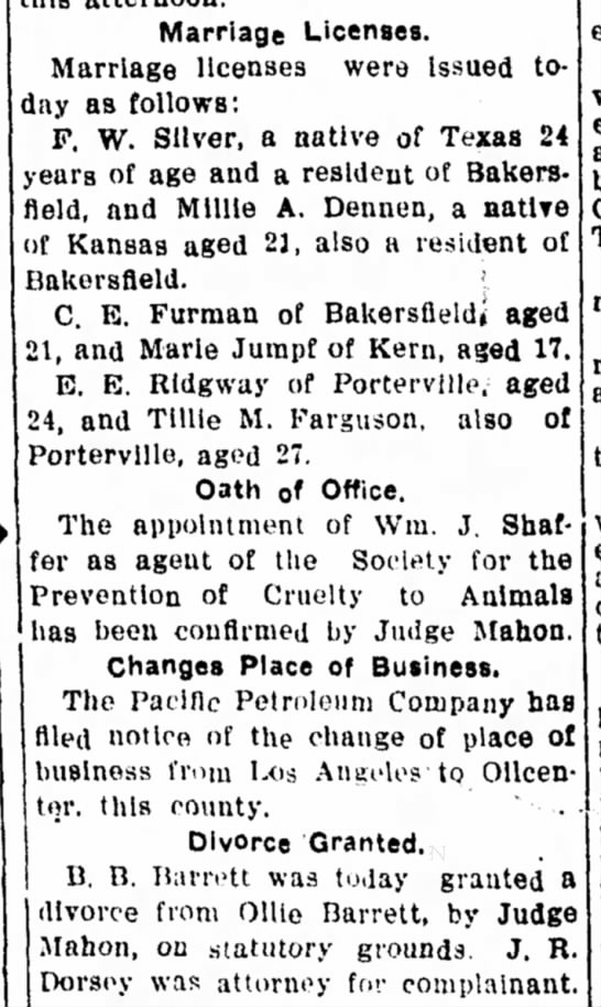 Marriage and Divorce in Bakersfield, CA, 1908.