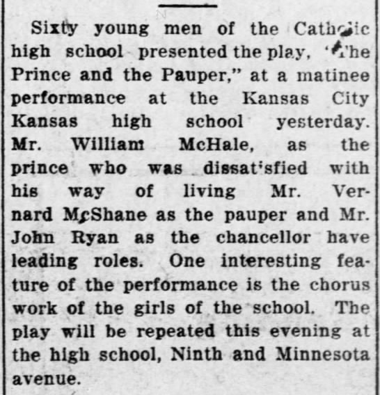 Wm McHale Jr 17 March 1914 - Sixty young men of the Cathic high school...