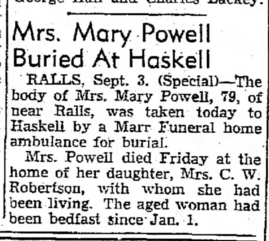 Mary Powell Obit - \Ars. Mary Powell Buried At Haskell RALLS,...