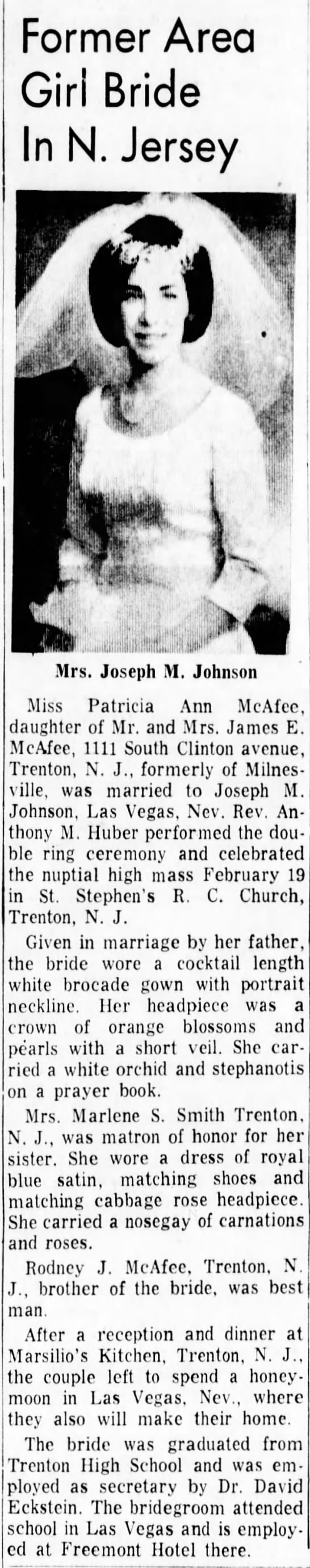 Patricia Ann McAfee wedding to Joseph Johnson - Former Area Girl Bride In N. Jersey ft .A m pi!...