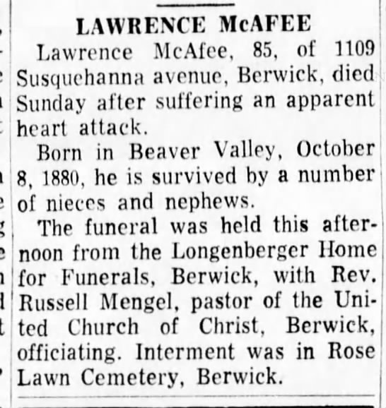 Lawrence McAfee death - LAWRENCE McAFEE Lawrence McAfee. 85, of 1109!...