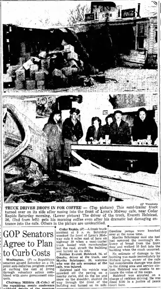 Accident near Cedar Rapids December 13, 1947 Page 1, Columns 3 - 5